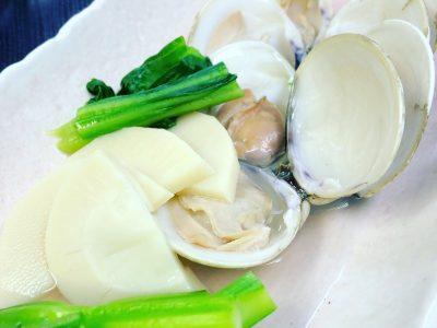 蛤と春野菜の酒蒸し♪
